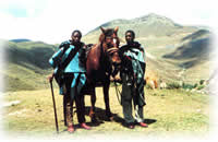 men and horse in lesotho