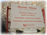 sign for Monte Alban, Mexico