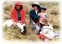 group of women and children in Peru